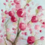 Pink Cherry Blossom Watercolor Painting