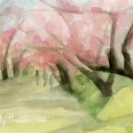 Central Park Cherry Blossoms Painting