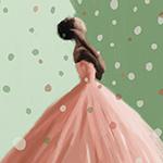 Peach and Mint Green Fashion Art Print