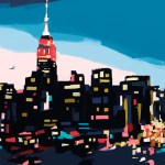 New York Skyline at Dusk (Navy, Teal + Pink)