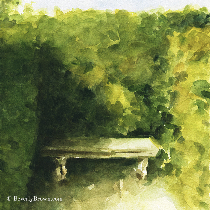 Bench, Parc de Bagatelle - From a series of Paris watercolor paintings by Beverly Brown | Framed and canvas wall art for sale at www.beverlybrown.com