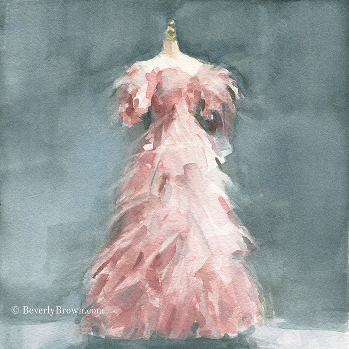 Blush Pink Evening Dress Art Print. From a series of new paintings inspired by fashion by Beverly Brown. Framed and canvas wall art for sale at www.beverlybrown.com