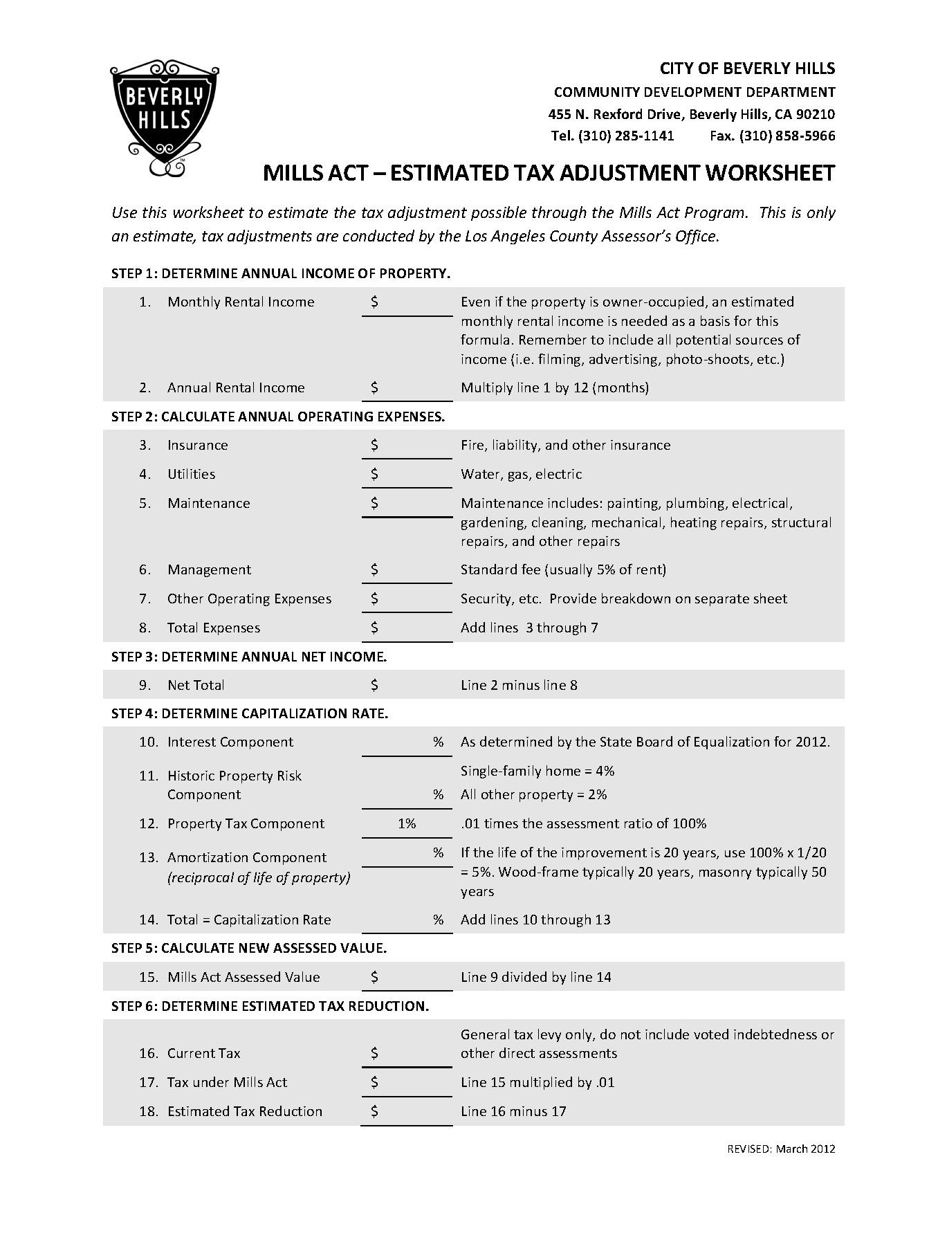 Tax Planning Worksheet