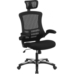 Office Chair With Headrest Aluminum Bistro Chairs Black Mesh High Back From Beverly Hills