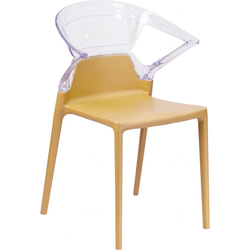 Ghost Side Chair with Gold Seat from Beverly Hills Chairs