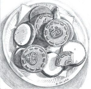 """End of Day 21. """"Graham's Plate of Oreos"""" by Beverly Shipko, Drawing on bristol board, 6 x 6 inches."""