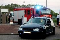 Auto implodeert bij tankstation Beverwaard