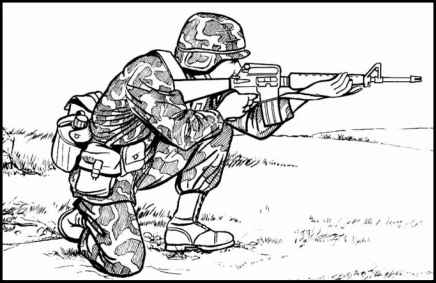 Shooting in the kneeling position : army