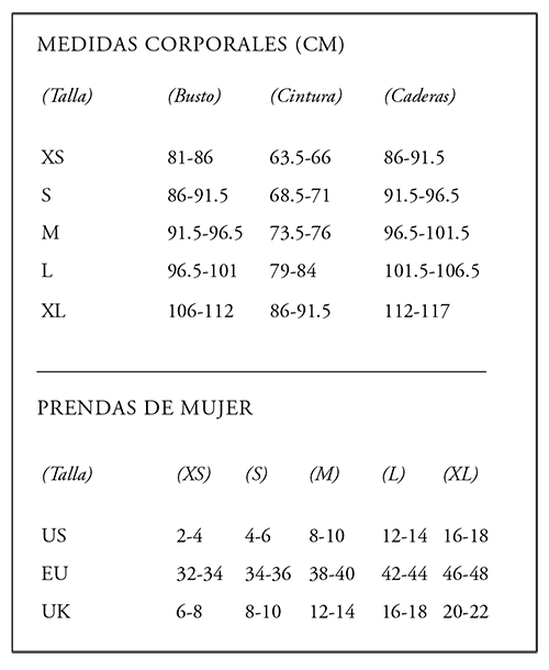 tabla de tallas bevir clothing barcelona