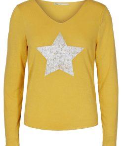 Top jaune avec étoile manches longues marque Only.