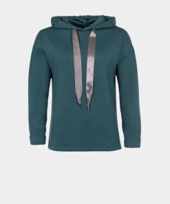 Sweat shirt capuche femme bleu vert marque Tiffosi.