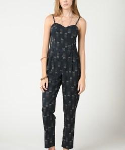 Combinaison pantalon fines bretelles noire marque Molly Bracken.
