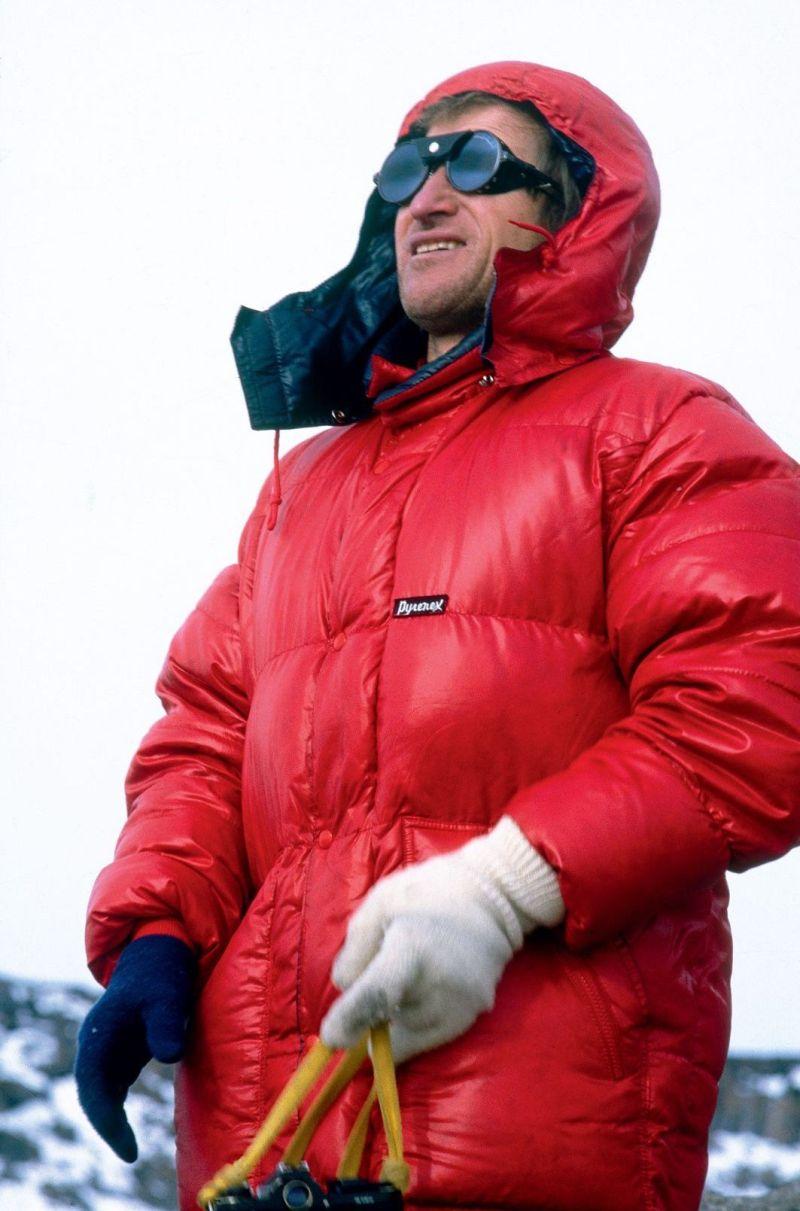 L'alpiniste Louis Audoubert et sa doudoune Pyrenex dans les années 1970
