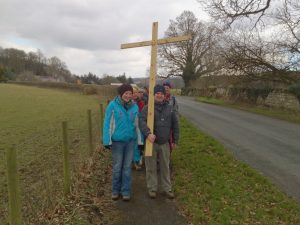 Mike and Harriet carrying the Cross on our Good Friday walk to Lanercost Priory, 2013