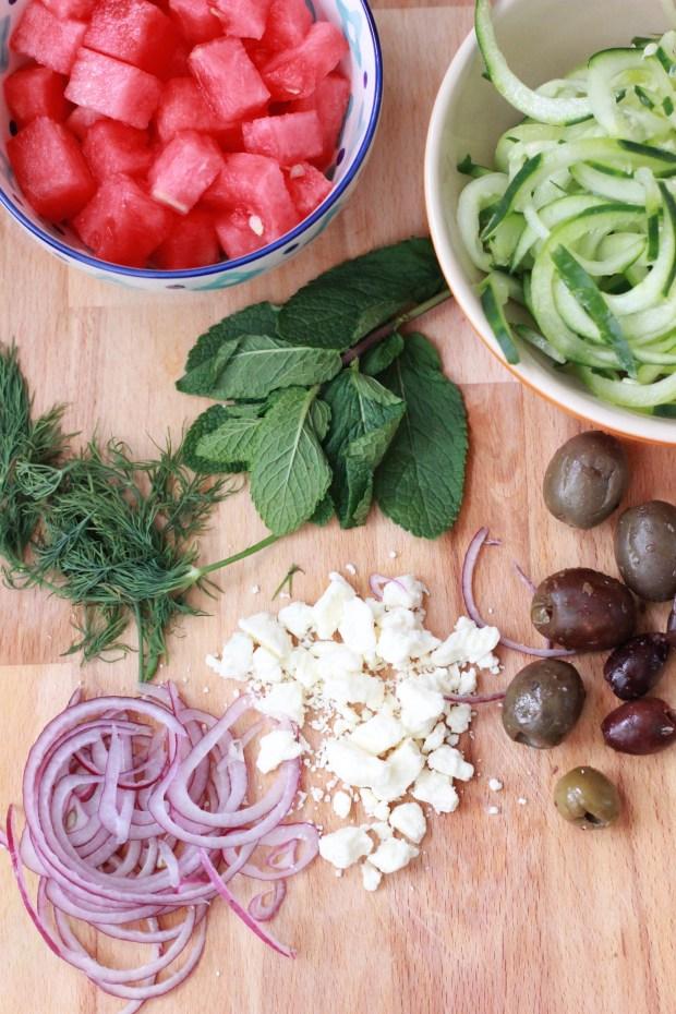 Watermelon, Cucumber & Feta Salad