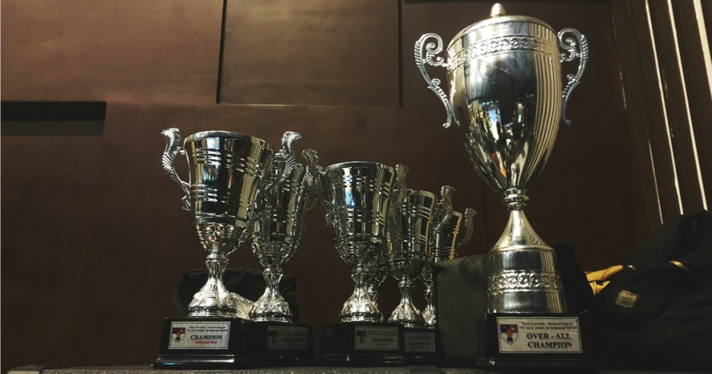 Trophies on a shelf