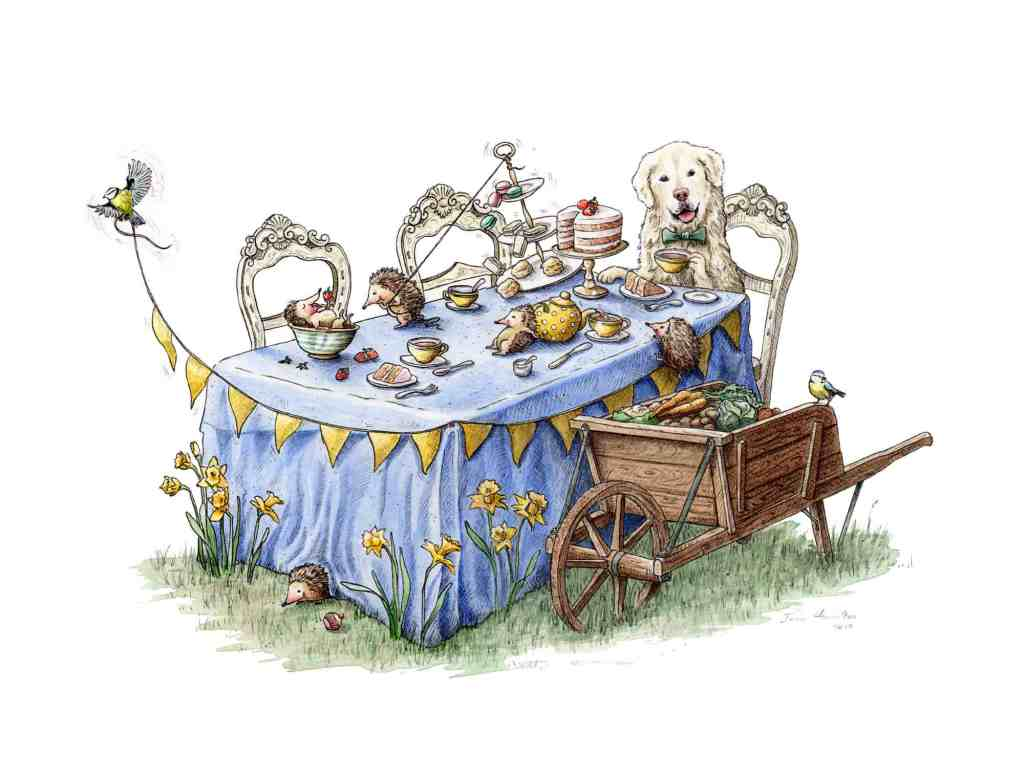 Original painting of a golden retriever having an afternoon tea party with hedgehogs and birds on a white background