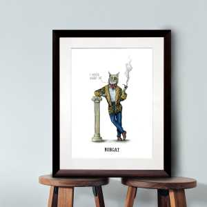 Print of a smartly dressed bobcat smoking a pipe leaning on a pillar in a dark wood frame sitting on two wooden stalls