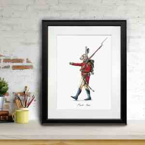 Print of a hare marching dressed in red British army uniform in a black frame sitting on a shelf leaning against a brick wall
