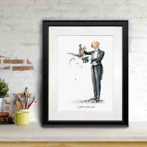 Print of a Yellow Labrador in a magician's outfit pulling a pheasant out a hat in a black frame leaning against a brick wall