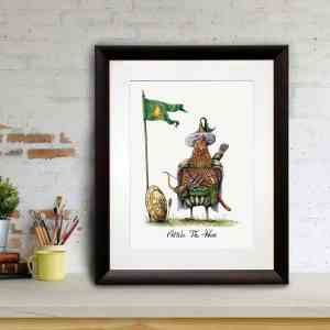 Print of a chicken dressed in a nomadic tribal outfit as Attila The 'Hen' in a black frame leaning against a brick wall
