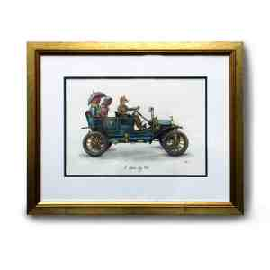 Original painting of a smartly dressed country fox driving two chickens in a vintage car in a gold frame on a white wall