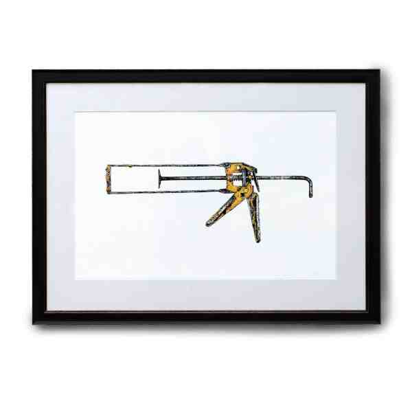 Original painting of a rusty old sealant gun in a black frame on a white background