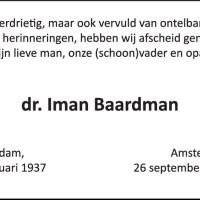 In memoriam Iman Baardman