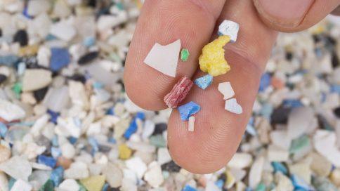 Finger halten kleine Mikroplastikpartikel