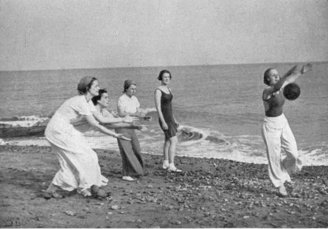 Augusta Victoria girls pictured on Bexhill beach circa 1935.