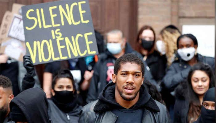 Photo of Boxing champion Anthony Joshua calls out racism at Black Lives Matter rally