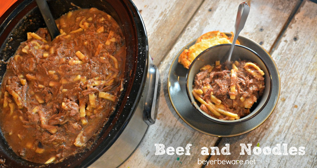 A creamy slow cooked crock pot beef and noodles recipe that will warm you up after a cold day. So good served over mashed potatoes.