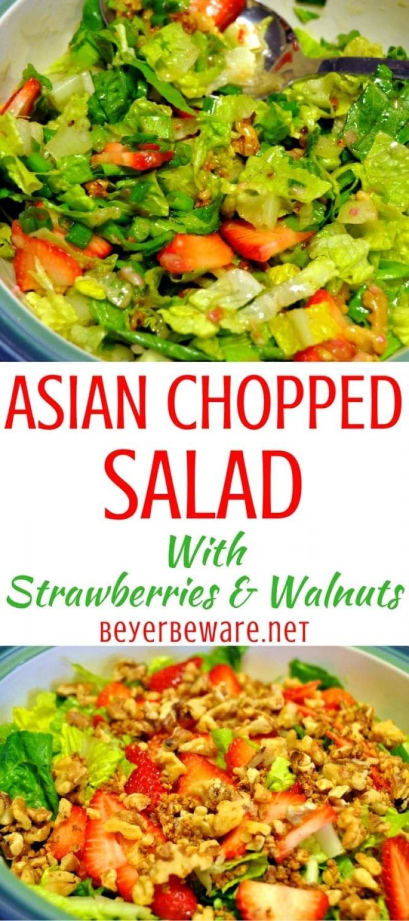 This Asian Chopped Salad with berries recipe is full of sweet and spice with just enough tanginess thanks to the combinations of strawberries, spicy walnuts, and a mustard vinaigrette.
