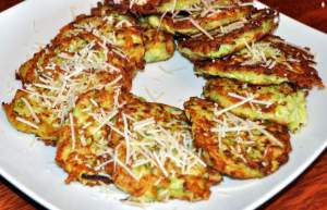 These crispy zucchini fritters are a simple recipe that is a great way to use zucchini and a lower carb alternative to potato pancakes.