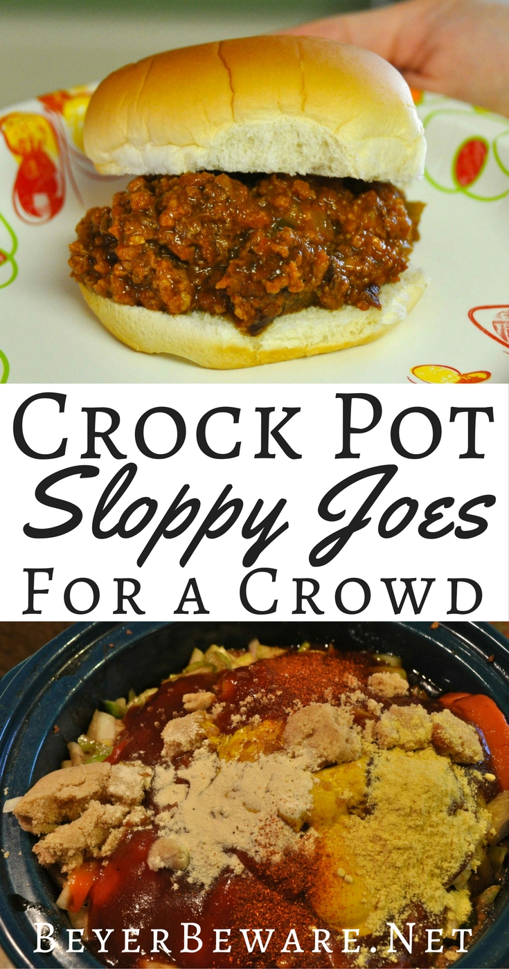 These crock pot sloppy joes for a crowd are just what you need when you are looking for a recipe to feed a bunch of hungry people!