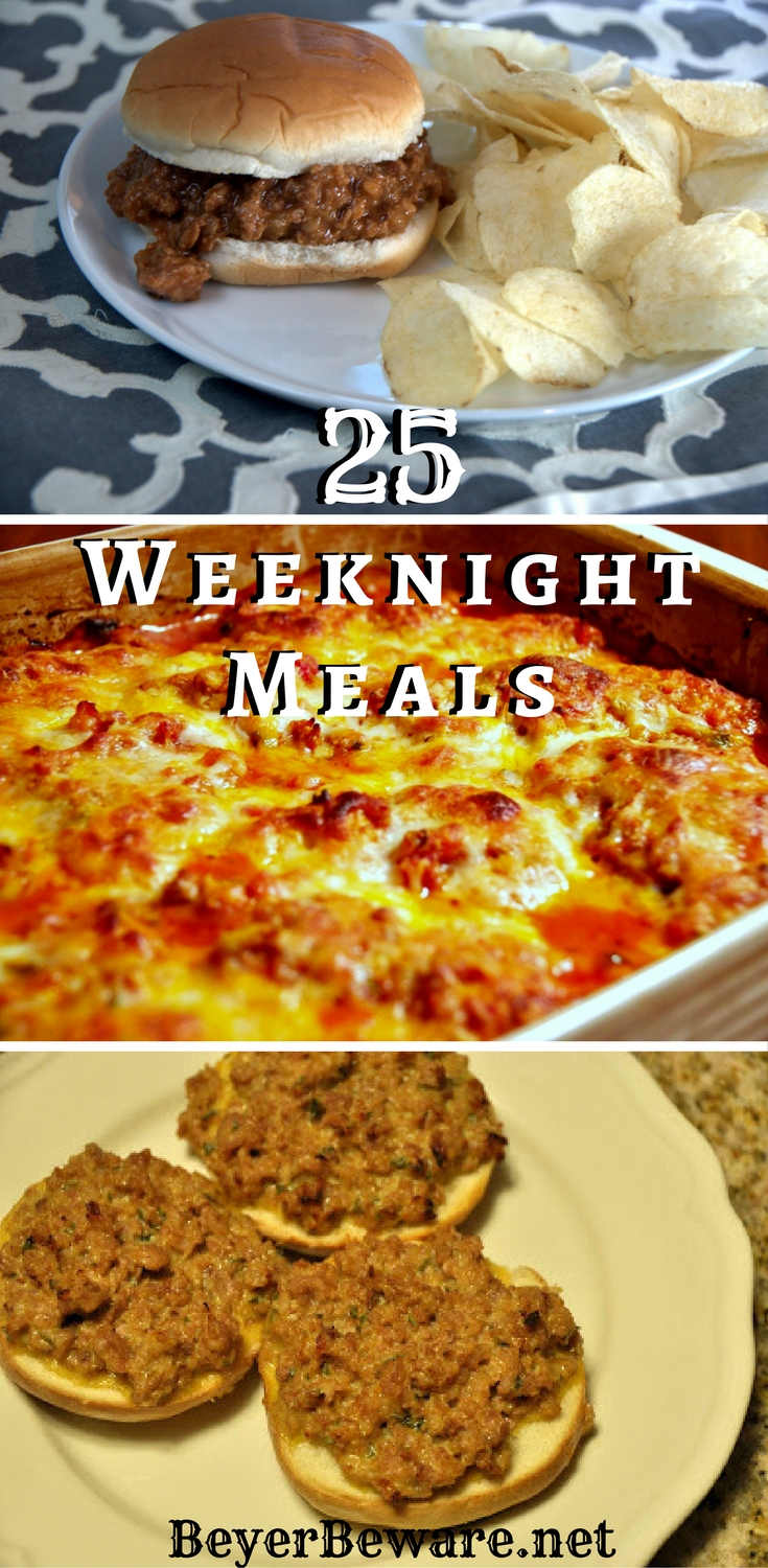 These 25+ quick and easy recipes are staples at our house during the week. The cheesy Sausage Bagel recipe is one of my family's favorites.