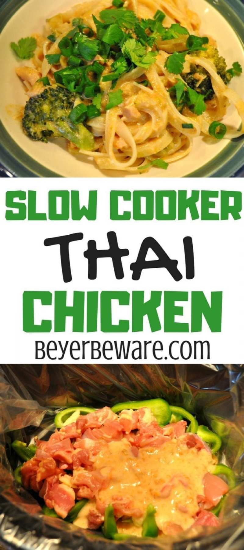 Slow Cooker Thai Chicken served with rice noodles or rice offers the peanut and cilantro flavors of pad thai with a hint of heat to your liking straight out of the crock pot.