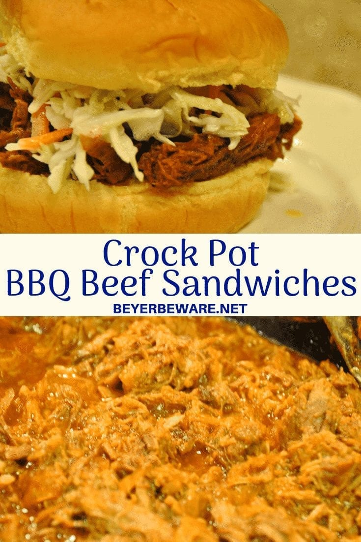 Crock Pot BBQ Beef sandwich recipe is a great way to use a beef roast with a tomato-based BBQ beef sandwich slow cooked all day for tender and flavor. #BBQ #BeefRoast #CrockPot #Beef #Slowcooker