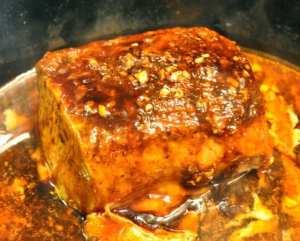 glaze brushed pork loin