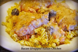 slow cooker bacon wrapped italian chicken