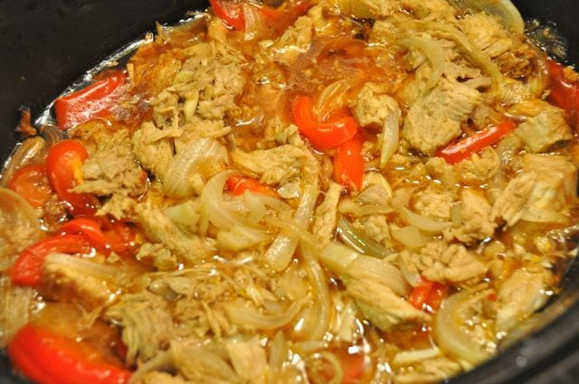 Carnitas with peppers, onions and garlic