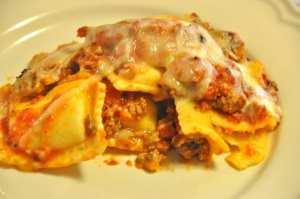 serving of baked lasagna