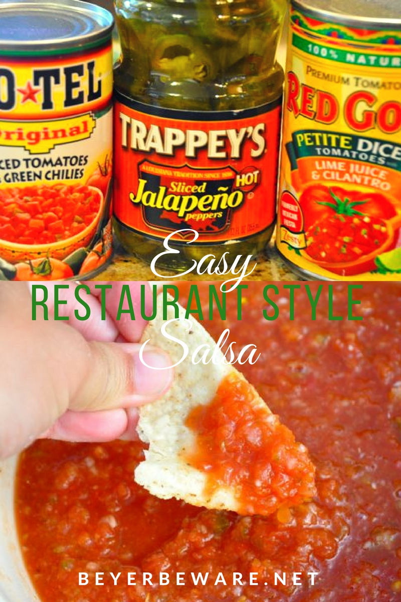This quick and easy restaurant style salsa is a simple salsa recipe made with canned tomatoes, Rotel and jalapenos with some fresh garlic and onions so you can make the best salsa right at home. #Salsa #Chipsandsalsa #RestaurantRecipe #CopycatRecipes #EasyRecipes