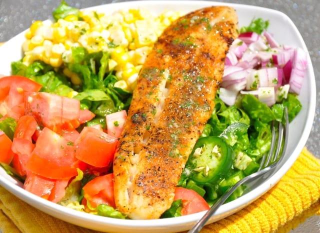 Blackened Fish Taco Salad with Cilantro Lime Dressing