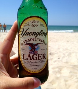 Yuengling beer on the beach