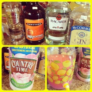 Island Lemonade Ingredients of rum, vodka, gin, peach schnapps and lemonade mix