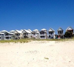 Beach view of skinny houses on St. George Island