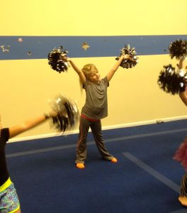 little girl cheering