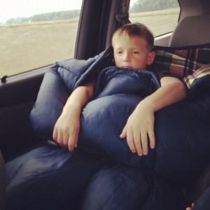 sleeping bag in van