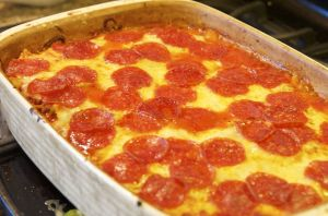 Pepperoni & Sausage Pizza Casserole